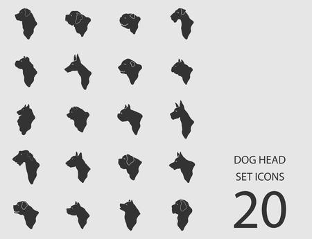 Dog head set of flat icons. Vector illustration