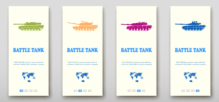 Battle tanks fold set technology annual report brochure flyer design template vector, Leaflet cover presentation abstract background layout Illusztráció