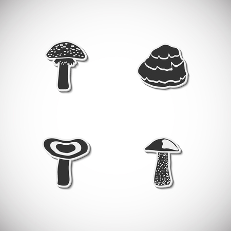 Mushrooms set of icons with shadow. Simple vector illustration