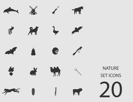 Nature set of flat icons. Simple vector illustration Çizim