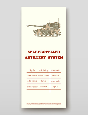 Self-propelled artillery system technology annual report brochure flyer design template vector, Leaflet cover presentation abstract background layout