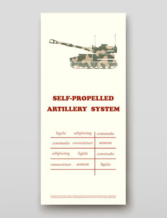 Self-propelled artillery system leaflet cover presentation abstract, layout size technology annual report brochure flyer design template vector