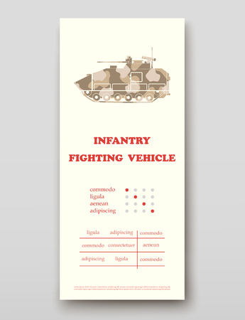 Infantry fighting vehicle leaflet cover presentation abstract, layout size technology annual report brochure flyer design template vector