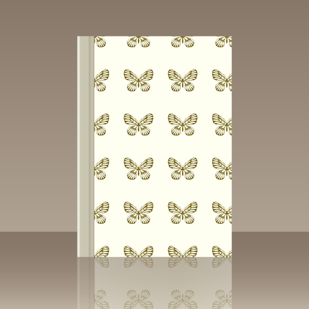 Butterfly and Book. Realistic image of the object with reflection  イラスト・ベクター素材