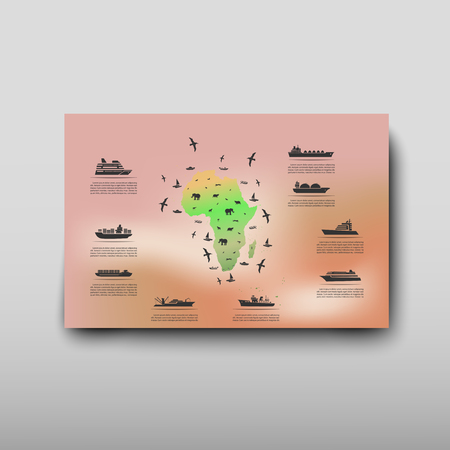 Leaflet cover presentation abstract map geographic business infographics, technology annual report brochure flyer design template vector Illustration