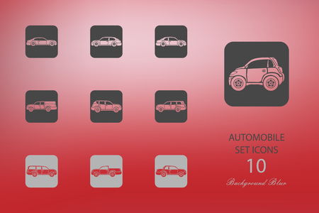 Automobile. Set of flat icons on blurred background Vectores