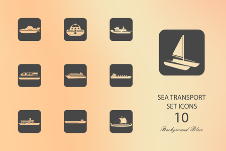 Sea transport. Set of flat icons on blurred background
