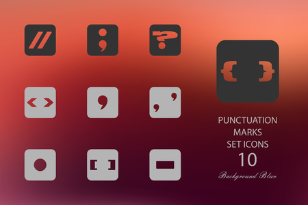 Punctuation marks. Set of flat icons on blurred background Çizim