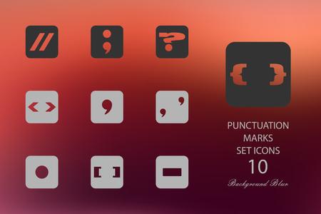 Punctuation marks. Set of flat icons on blurred background Illustration