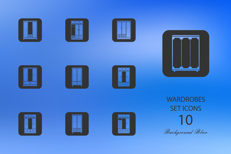 Wardrobes. Set of flat icons on blurred background