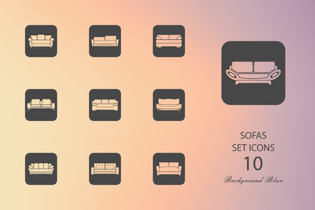 Sofas. Set of flat icons on blurred background