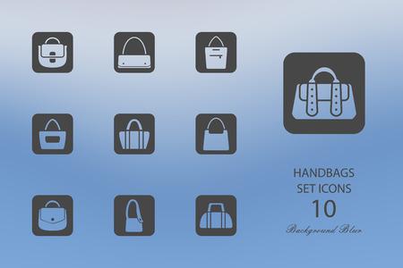 Handbags. Set of flat icons on blurred background