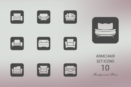 Armchairs. Set of flat icons on blurred background Archivio Fotografico - 103360097