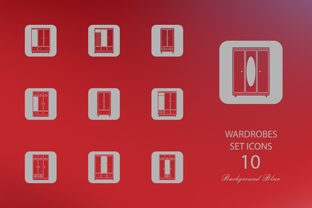Wardrobes. Set of flat icons on blurred background. Vector illustration