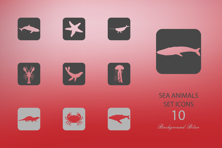Sea animals. Set of flat icons on blurred background. Vector illustration Zdjęcie Seryjne - 104068531