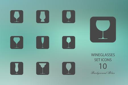 Wineglasses. Set of flat icons on blurred background. Vector illustration Illustration