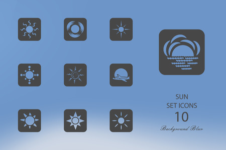 Sun. Set of flat icons on blurred background. Vector illustration