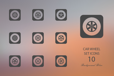 Car wheel. Set of flat icons on blurred background. Vector illustration Illustration