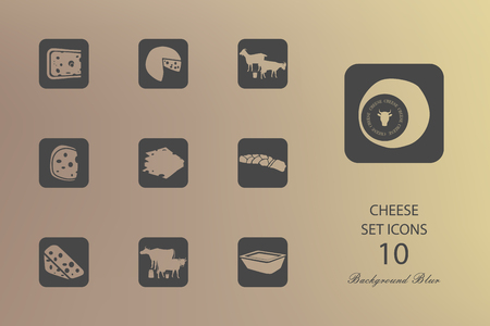 Cheese. Set of flat icons on blurred background. Vector illustration
