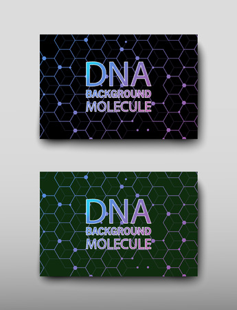 Poster brochure flyer design template vector, DNA abstract geometric background, layout in A4 size shadow Illustration