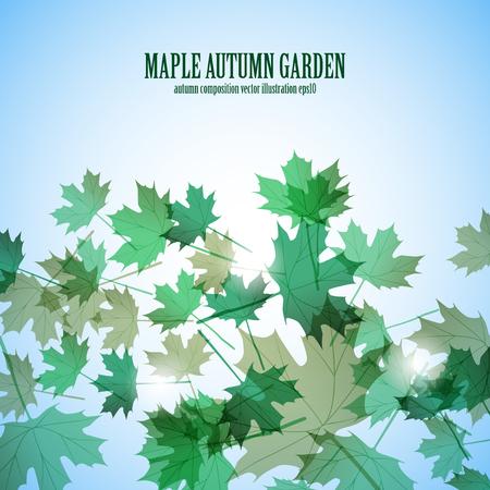 Illustration autumn motif. Maple leaves. Vector background Stok Fotoğraf - 106231244