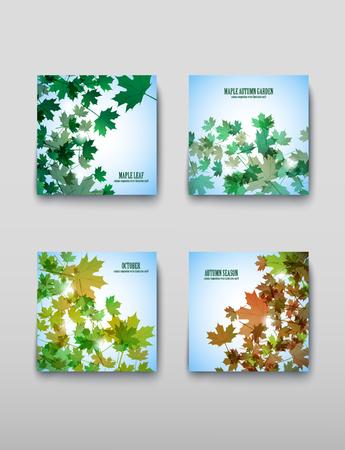 Illustration autumn still life. Maple leaves. Vector background Çizim