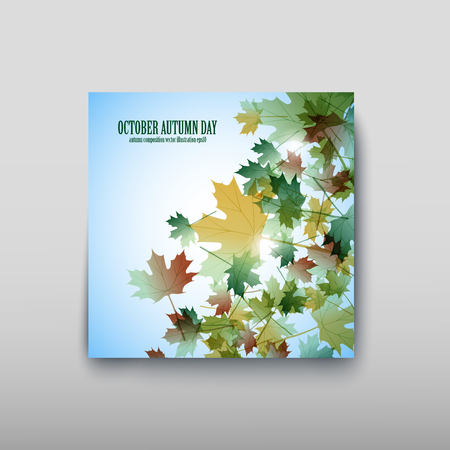 Illustration autumn still life. Maple leaves. Vector background Vectores