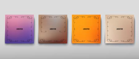 Cubra el color de la hoja de papel con fondo borroso y un patrón gráfico abstracto. Ilustración vectorial