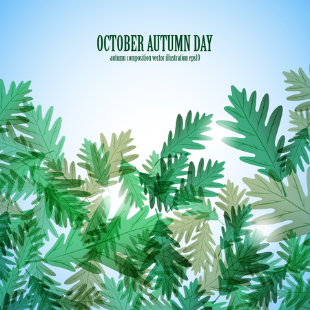 Illustration autumn motif. Oak leaves. Vector background