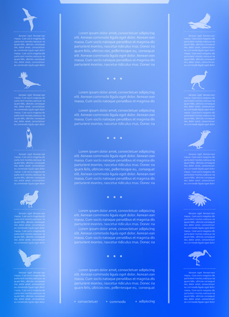 Poster infographics birds on a blurry background in an abstract style. Vector illustration with graphic scheme