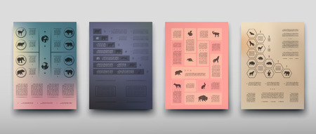 Poster infographics wild animals on a blurry background in an abstract style. Vector illustration with graphic scheme