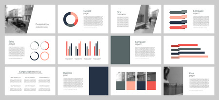 Annual report. Multicolored and black elements on a gray background. The best template from business presentations, used in marketing, advertising, business. Banner and flyer. Vector illustration with graphic scheme
