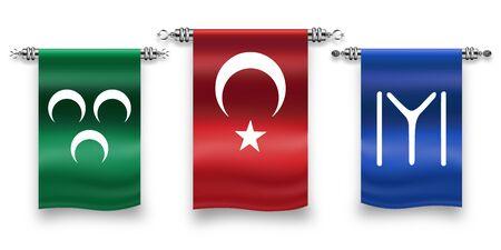 Turkish, Ottoman, Turkish Flags Stok Fotoğraf - 133571912