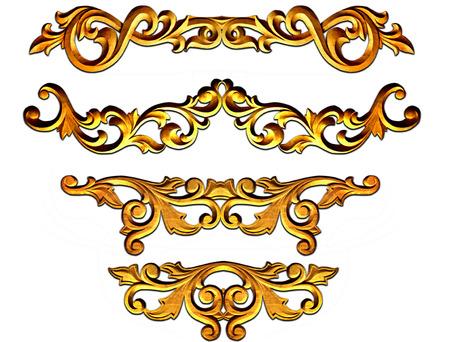 gold ornate baroque frame elements for design Banque d'images