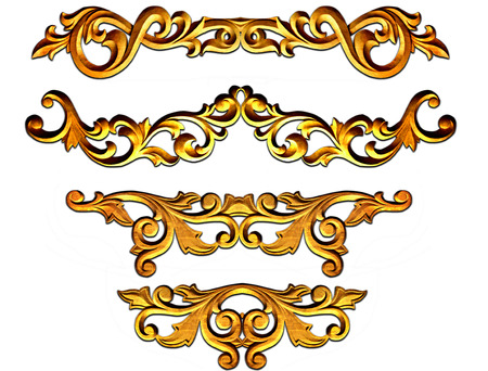 gold ornate baroque frame elements for design Imagens