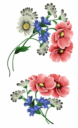 corn poppy: flowers for design textile Illustration