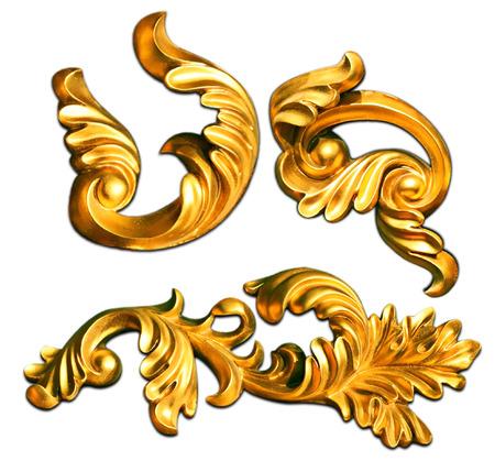 gold ornate baroque frame elements for design