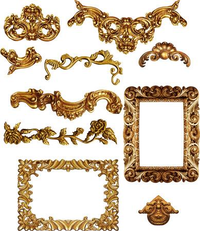 barroco: Marcos de cuadros antiguos de oro Conjunto de la vendimia aislado en el fondo blanco