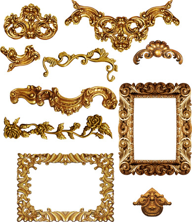 picture  golden antique frames Set Vintage isolated  on white background