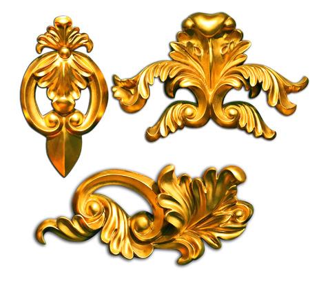 Cadres photos anciennes d'or Set Vintage isolé sur fond blanc Banque d'images - 26171873