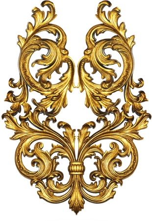 golden baroque isolated  on white background