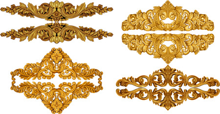 pattern antique: golden baroque isolated  on white background