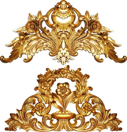 broderie: baroque d'or isol� sur fond blanc Banque d'images