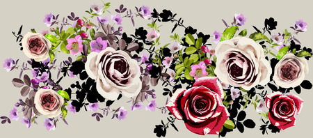 fabric painting: illustration flowers Stock Photo