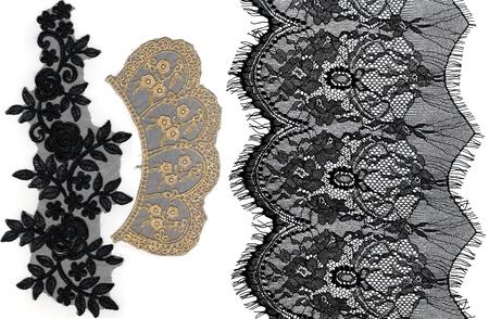 encaje: encaje con el patrón en la forma de flor en el fondo blanco