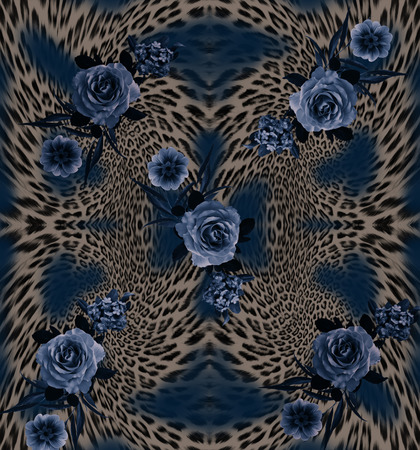 rose flower mix leopard  pattern background