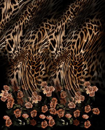 Fleur rose mélange de motifs léopard fond Banque d'images - 47775051