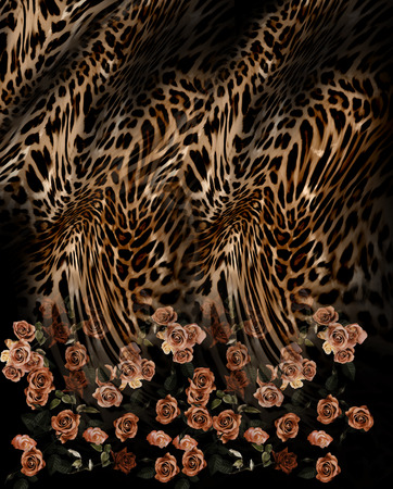 black leopard: rose flower mix leopard  pattern background