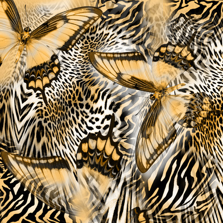 fabric painting: butterfly snake zebra skin  background
