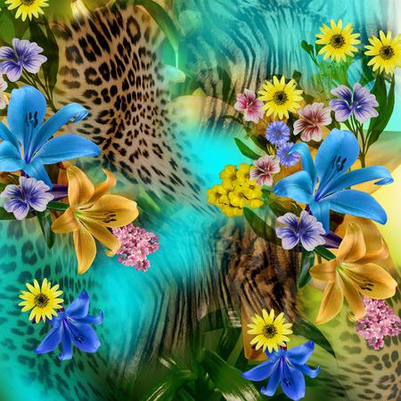 animal print: leopardo de la flor Foto de archivo